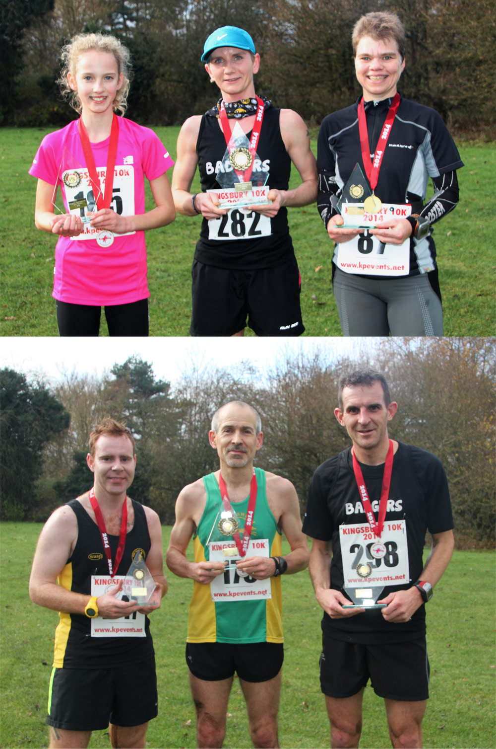 winners – Kingsbury Water Park 10k – 30th Nov 2014