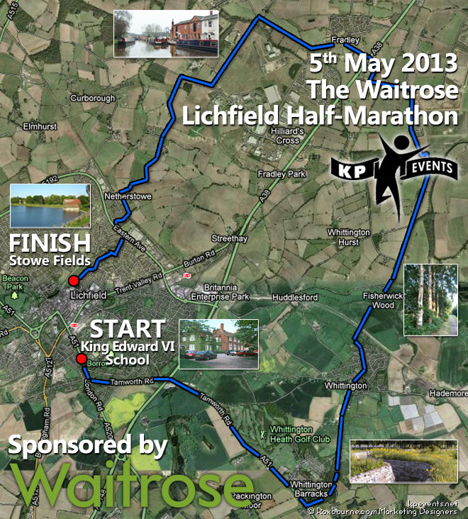 half marathon route map lichfield may 2013